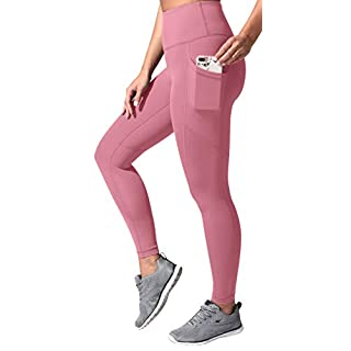 90 Degree By Reflex High Waist Tummy Control Squat Proof Ankle Length Leggings with Pockets - French Pink - Large