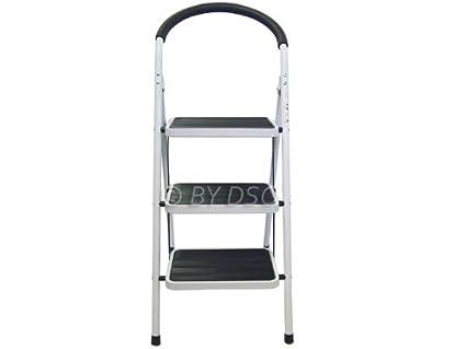 Cocoarm Trittleiter Leiter mit 2 Stufen Klapptritt Klappleiter Haushalt mit Anti-Rutsch-Stufen Jede Schicht bis 120 kg belastbar Wei/ß 42 x 48 x 41,5 cm