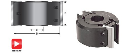 Amana Tool 61249 Insert Carbide 2-Wing Profile Pro 110mm D x 60mm CH x 1-1/4 Bore Steel Shaper Cutterhead