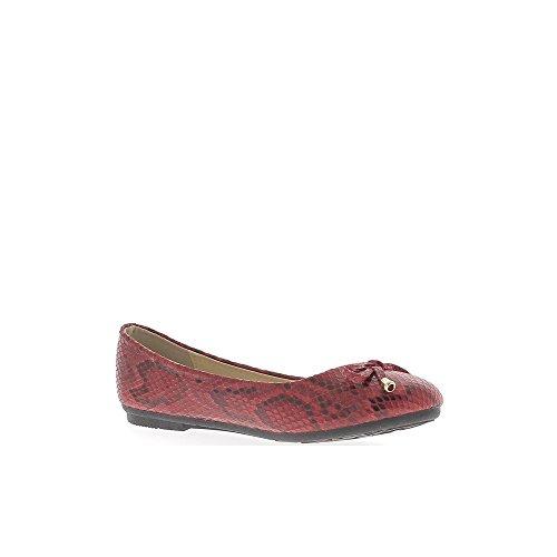 Ballerina rot Aspekt Leder glänzend Wirkung Haut Schlange