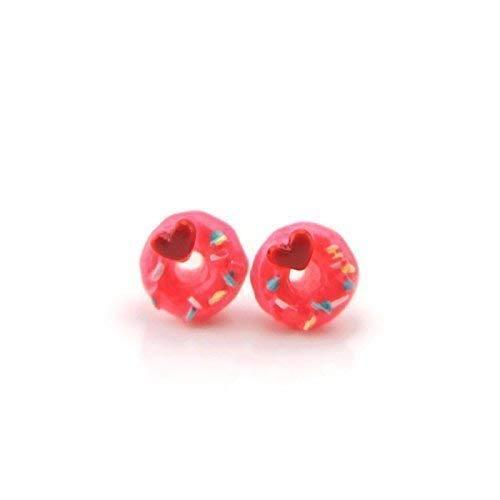 Pink Donut Plastic Post Earrings Metal Free Hypoallergenic for Metal Sensitive Ears