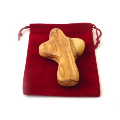 Olive Wood Cross- Palm Size (Jesus Holding The World In His Hands)