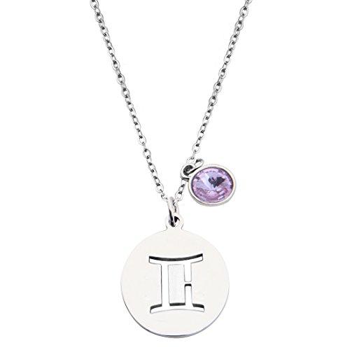 - KUIYAI Stainless Steel Zodiac Sign and Birthstone Charm Necklace Bracelet (June-Gemini Necklace)