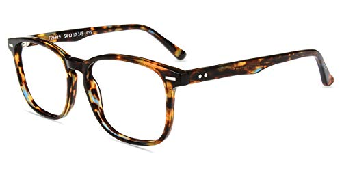 Firmoo Blue Light Blocking Glasses for Computer Use, Reduce Eyestrain Migraine Blocking UV400 Headache Anti Glare Scratch Lens Square Pattern Non Prescription Eyewear - Glass Vintage Pattern