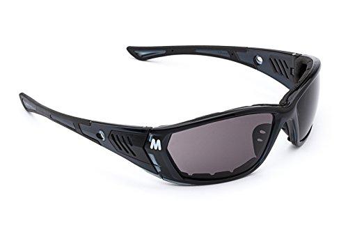 MORR STARRLEY Z7 Sport Sunglasses with Wrap-Around Fog ARMORR Anti-Fog Lenses and Padded Frame for Mountain Biking, Cycling, Fishing, Shooting, (Black Frame, Dark Gray Lens)