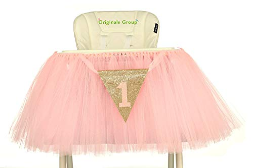 Party Themes For Baby Girl First Birthday (Originals Group 1st Birthday Baby Pink Tutu Skirt for High Chair Decoration for Party)