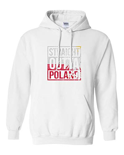 Societee Poland Pride Straight Outta Flag World Championships Soccer Boys Girls Youth Hooded Sweatshirt (White, Youth ()