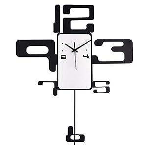 Wall clock Reloj Moderno Reloj de Pared de Hierro Forjado de 20 Pulgadas Sala de Estar Dormitorio Reloj de Pared de casa de Metal Movimiento de Salto 1 batería AA (sin impuestos) 8