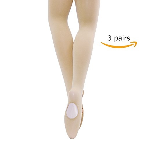 MANZI Women's Solid Color Comfortable Convertible Ballet Tights 3 Pairs Pack (S/M,Nude) Dance Footless Tights