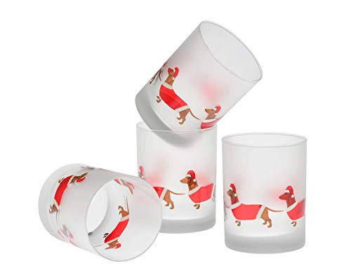 Culver 0065DSNT4DS Frosted Santa Dachshunds DOF Double Old Fashioned Glass, 14-Ounce, Set of 4