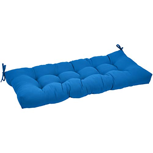 AmazonBasics Tufted Outdoor Patio Bench Cushion- 44 x 18 x 4 Inches, Blue (Cushions Bench)