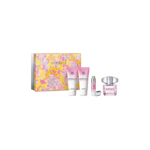 Versace Bright Crystal By Versace for Women 4 Piece Set: 3.0 Oz Eau De Toilette Spray + 3.4 Oz Perfumed Body Lotion + 3.4 Oz Perfumed Shower Gel + 10ml Eau De Toilette Spray
