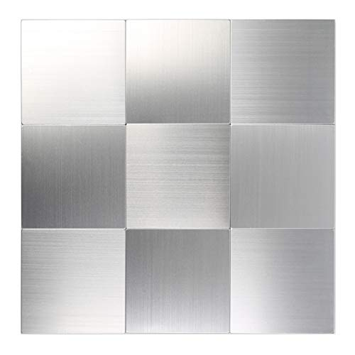 HomeyStyle Peel and Stick Tile Backsplash for Kitchen Bathroom Wall Decor Aluminum Surface Metal Mosaic Tiles Silver Square Plaid(12