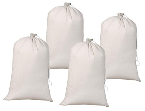 Heavy Duety Laundry Bag,Canvas Laundry Bags,Cotton Laundry Bag with Drwstrings, Easy to Carry,Washable Laundry Bag,Santa Bag,Laundry Hamper Bags 24x36 inch -Natural (Set of 4 Pieces) by Life By Cotton