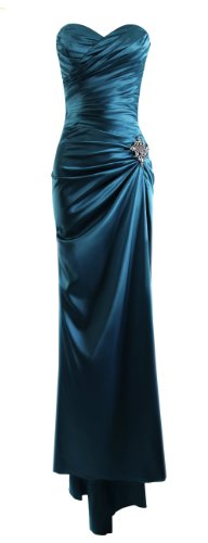 Fiesta Formals Strapless Long Satin Bandage Gown Bridesmaid Dress Prom Formal Crystal Pin - Teal - XL
