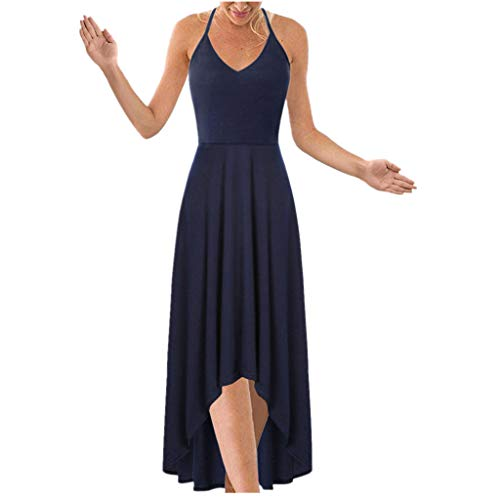 Sunhusing Ladies Sexy Strapless Sleeveless Hanging Neck Sling Lace-Up Solid Color Irregular Hem Halter Dress Navy