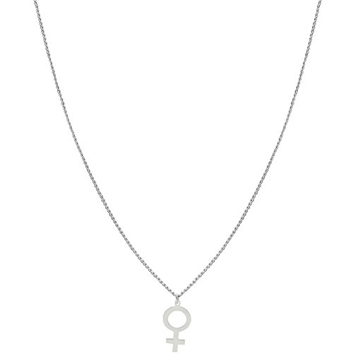 GIRLPROPS 1/2 X 1 Female Gender Sign Necklace, 10% Nickel Free, Made in U.S.A, in Silver Tone ()