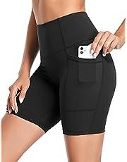 "coastal rose Women's Biker Shorts High Waist Workout Shorts 7"" Tummy Control Yoga Shorts with Side Pocket"