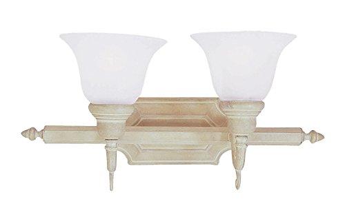 (Livex Lighting 1282S-18 Bath Vanity with White Alabaster Glass Shades, Weathered Brick)