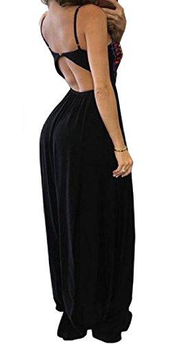Delle Backless Vestito Stampato Sling Donne Nero Altalena Maxi Discoteca Coolred Il 0ndqwHBY