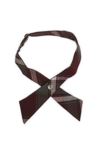 French Toast Girls' Adjustable Cross Tie Plaid, Burgundy Plaid, One - Plaid Accessories