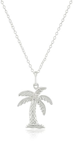 Sterling Silver Palm Tree Pendant Necklace, 18