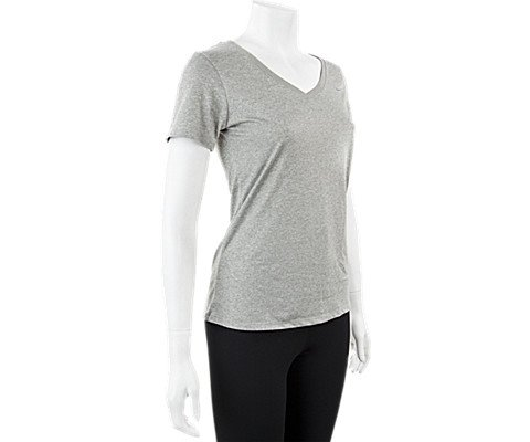 Nike Women's Legend 2.0 V-Neck Training Tee Dark Grey Heather/Cool Grey MD