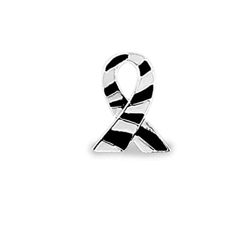 1 Carcinoid Awareness Ribbon Lapel Pin in a Bag (1 Pin- Retail) Sterling Silver Plated ()