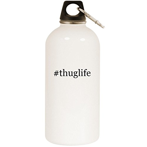 Molandra Products #thuglife - White Hashtag 20oz Stainless Steel Water Bottle with Carabiner (4 Ipod Cases Tupac)