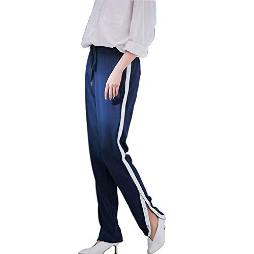 Women Casual Pants Straight Trousers Tie Waist Split Side Button Striped Sweatpants (Medium) Navy