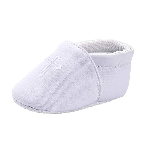 Baby Boys Girls Premium Soft Sole Christening Baptism Church Cross Slipper Crib Shoes, 0-3 Months - Outfit Booties