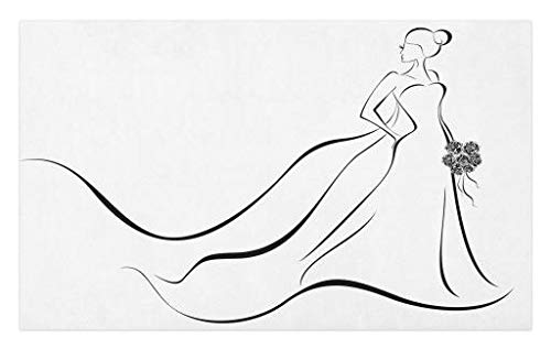 Inspiration Bouquet - Lunarable Wedding Doormat, Monochrome Bride with Line Art Design Inspiration Holding a Bouquet of Flowers, Decorative Polyester Floor Mat with Non-Skid Backing, 30 W X 18 L Inches, Black White