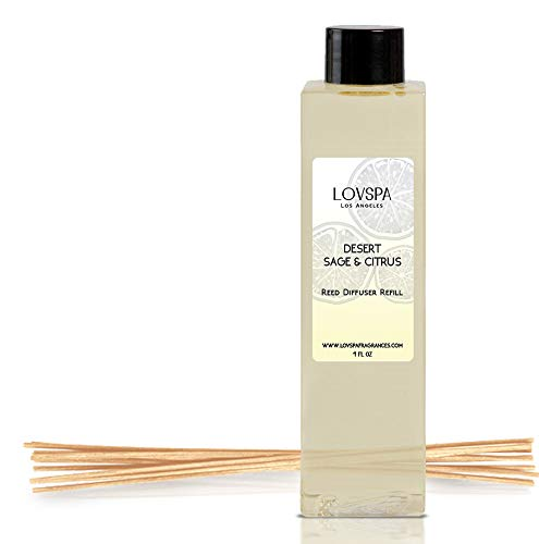 LOVSPA Desert Sage & Citrus Reed Diffuser Oil Refill with Replacement Reed Sticks | an Herbal Blend of Aromatic Sage, Luxurious Talc, and Lemon-Lime Essential Oils | Made in The ()