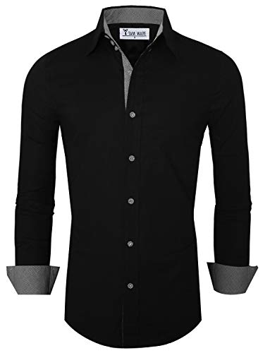 TAM WARE Mens Premium Casual Inner Contrast Dress Shirt TWNMS314S-BLACK-US M