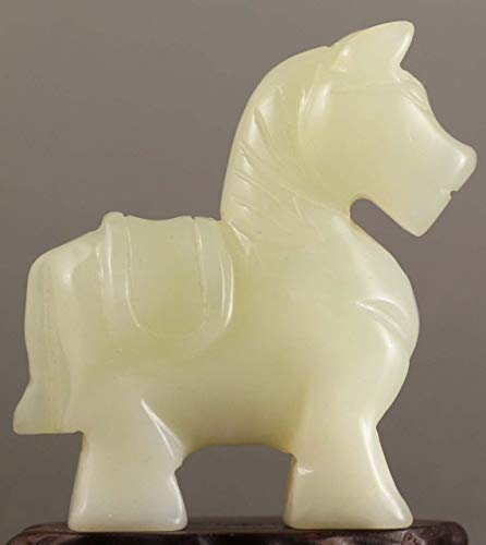 BeesClover Beautiful Chinese Old Jade Hand-Carved Jade Statue Horse 2.5 inch Show