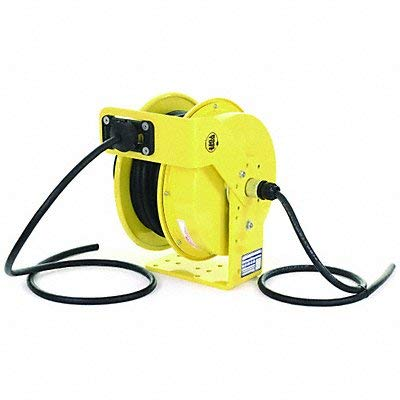 (KH Industries RTF Series ReelTuff Industrial Grade Retractable Power Cord Reel, 10/3 SOOW Cable, 25 Amp, 50' Length, Yellow Powder Coat Finish)
