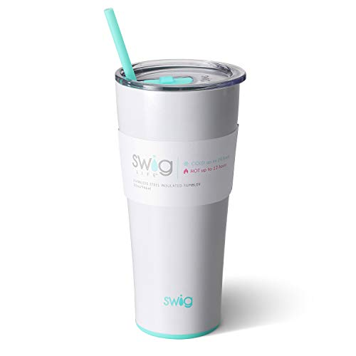 Swig Life Stainless Steel Signature 32oz Tumbler with Spill Resistant Slider Lid and Reusable Straw in Diamond White