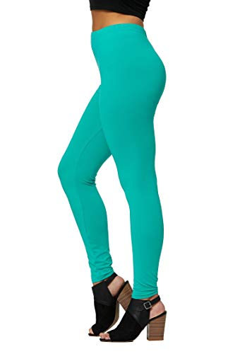 Conceited Ultra Soft High Waisted Leggings in 30 Colors - Regular and Plus Size Leggings for Women Full Length Kelly - One Size