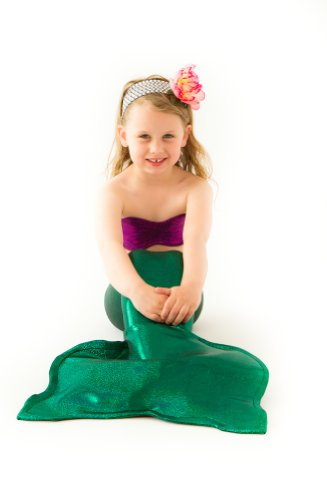 [Green Mermaid Tail with Seashell Top - Little Mermaid Costume (Small 2T-4T)] (Ariel Tail Costumes)
