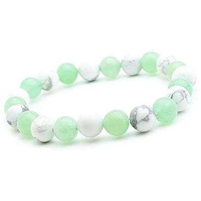 FitYo Bracelet Howlite et Jade en Pierre Semi-précieuse Perles de 8 ... ebf33b037c03