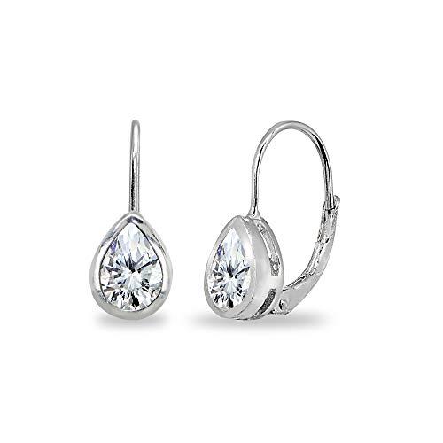 Sterling Silver Cubic Zirconia 7x5mm Teardrop Bezel-Set Dainty Leverback Earrings for Women Teen Girls