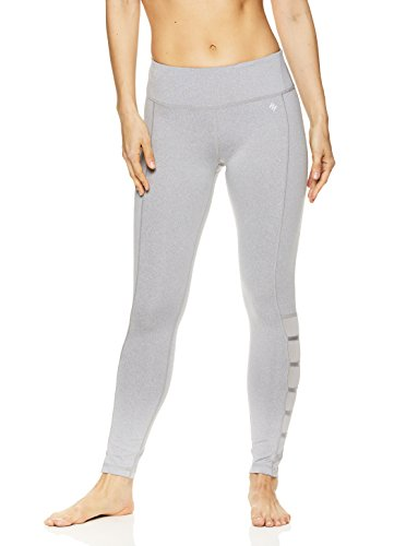 Nicole Miller Active Women's 7/8 Workout Leggings Performance Activewear Pants w/Elastic Inserts - Grey Heather Shiny, X-Small