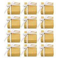 12 Pack Godiva Chocolatier Assorted Chocolate Gold Favor Box in White Ribbon