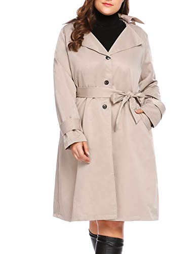(IN'VOLAND Plus Size Women's Single Breasted Long Trench Coat with Belt)