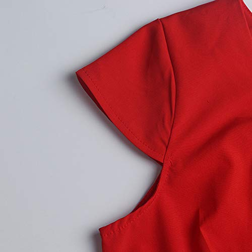 Sans Soirée Casual Lubity Ceinture Rétro Style 1950s Classique Cocktail Hepburn De Rouge 50 Swing Rockabilly Années Col Audrey Mariage Vintage Robe Manche CBodxWre