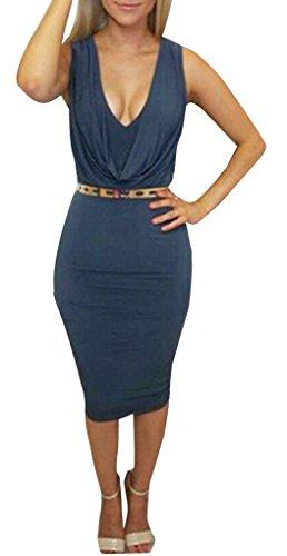 Femmes Blansdi Robe À Manches Pack Cou Plissé Hanche Bodycon Partie Clubwear Midi Bleu