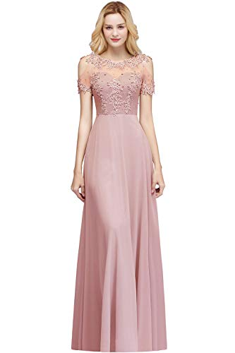 MisShow Elegant Wedding Dresses for Guests Maid of Honor Dresses for Women Party Wedding,Dusty Pink,14 (Best Maid Of Honor Dresses)