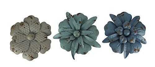 Things2Die4 Blue and Grey Metal Art Flower Wall Sculptures Set of 3