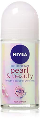 (Pack of 3 Bottles) Nivea PEARL & BEAUTY Women's Roll-On Antiperspirant & Deodorant. 48-Hour Protection Against Underarm Wetness. (Pack of 3 Bottles, 1.7oz / 50ml Each Bottle)