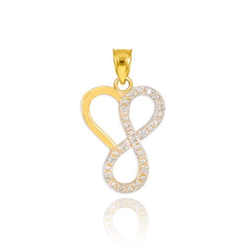 Fine 14k Yellow Gold Diamond Infinity Heart Charm Pendant